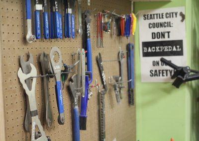 Bike tools in the workshop